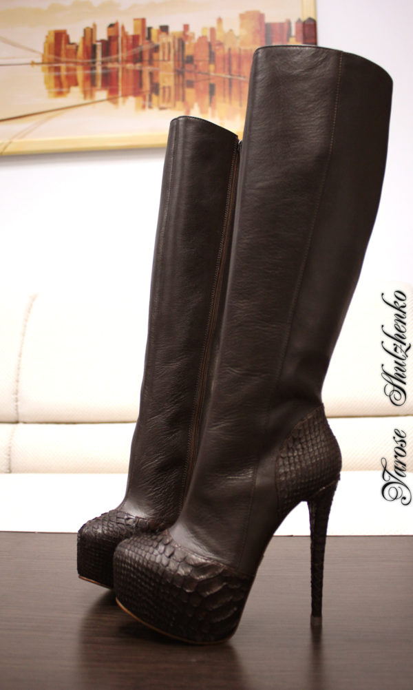 Leather & Python Boots